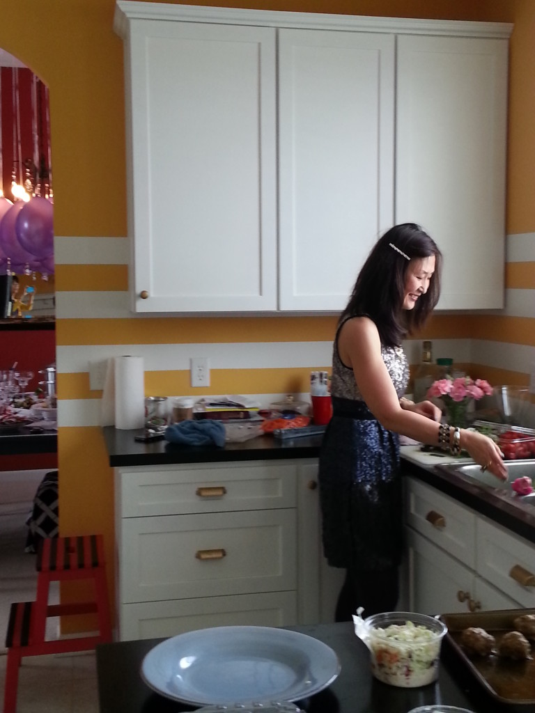 Preparing in the kitchen.