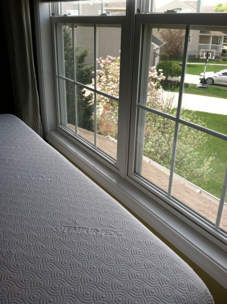 The mattress was a perfect size to my window. My bedroom is adjacent to toe neighborhood, so I decided to put the headboard by the window for the privacy. However I need to give up the airy feeling, so I'll see which way works better for me later.
