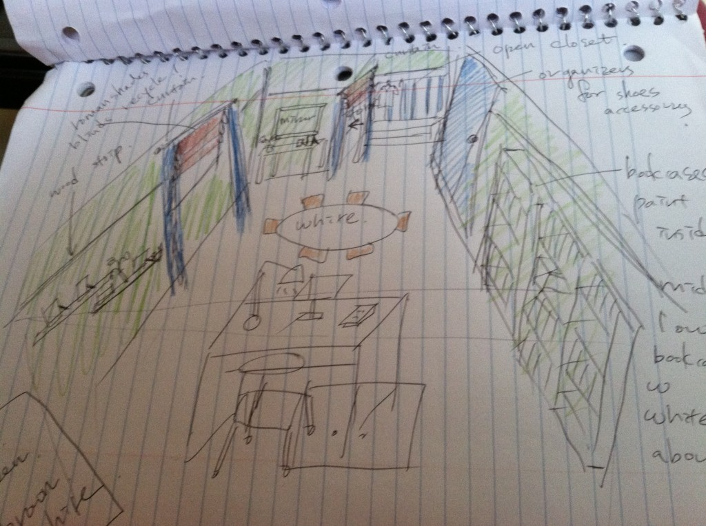 This is my first rough sketch of the room which is way different than how it looks now.